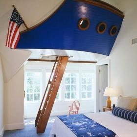 藍色美式躍層床兒童房的創意之作效果圖欣賞