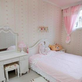 粉色小户型儿童房间布置 女生儿童房装修图片效果图