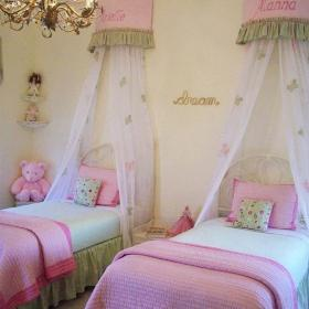 粉色110㎡上用品床110㎡床上用品雙人兒童房小公主臥室裝修效果圖大全