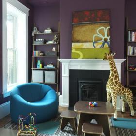 欧式别墅紫色带有壁炉的儿童房装修设计效果图欣赏