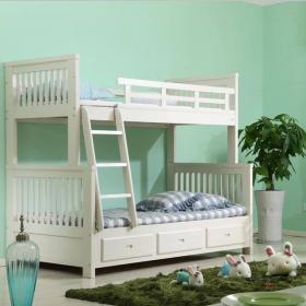 儿童房实木子母床图片效果图