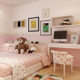 儿童家具搁板装饰画卧室家具儿童房卧室壁纸简约风格儿童卧室墙面壁纸装修效果图简约风格儿童床图片