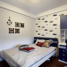 雙人床臥室家具兒童房臥室壁紙墻面裝飾簡約風格兒童床圖片效果圖大全