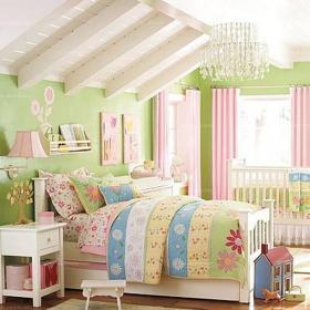 80㎡吊頂鄉村躍層床充滿童話色彩的閣樓兒童房設計裝修效果圖