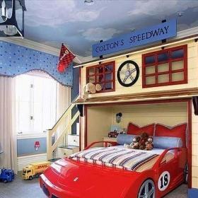 卧室卧室背景墙汽车儿童房设计图效果图