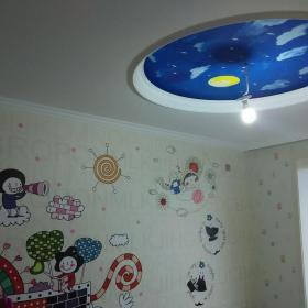混搭風兒童房創意手繪墻效果圖