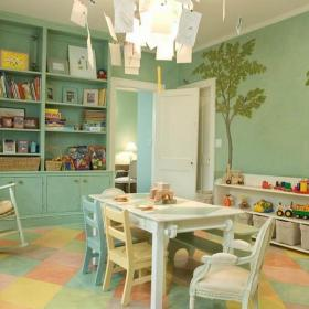 彩绘墙墙体彩绘储物柜儿童家具简约儿童椅彩绘背景墙清新儿童房绿色墙面手绘设计效果图