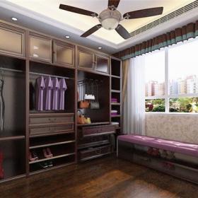 大衣柜組合衣柜開放式衣柜美式衣柜樓房深色系衣帽間設計效果圖