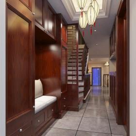 中式风格别墅衣帽间壁纸装修效果图