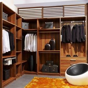 咖啡色中式衣帽间三居室中式风格转角衣帽间装修效果图