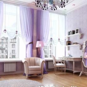 衣帽間紫色窗簾效果圖
