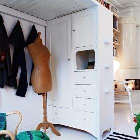 壁爐一居室50平米衣帽間書架效果圖
