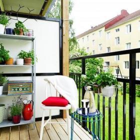 北欧风格单身公寓阳台装修效果图