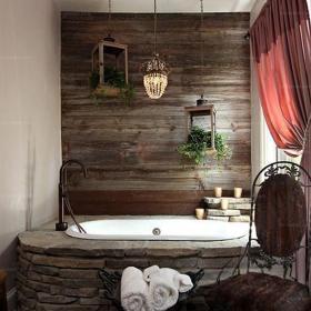 浴缸三居衛生間燈飾110㎡挑戰衛浴空間打造自然原始的北歐浴室效果圖