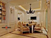 酒柜吊頂背景墻大戶型餐桌餐椅歐式古典風格別墅餐廳背景墻裝修效果圖歐式古典風格壁柜圖片
