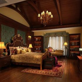 臥室背景墻躍層歐式古典吊頂臥室效果圖