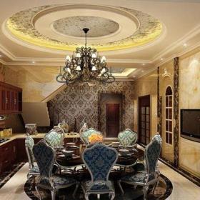 歐式古典風格四居室餐廳酒柜裝修效果圖欣賞