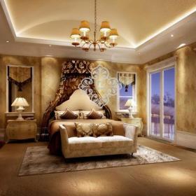 吊頂背景墻吊頂臥室背景墻歐式古典風格臥室效果圖