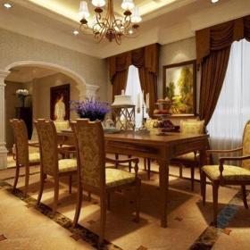 歐式古典別墅餐廳餐桌裝修效果圖大全