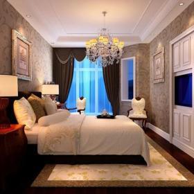 吊頂臥室背景墻歐式古典臥室效果圖