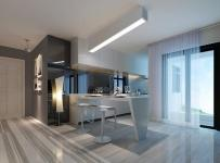 吧臺吧臺椅櫥柜210㎡復式樓現代風格開放式廚房吧臺裝修效果圖現代風格吧臺椅圖片