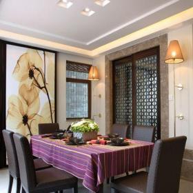 中式风格复式餐厅壁纸装修效果图
