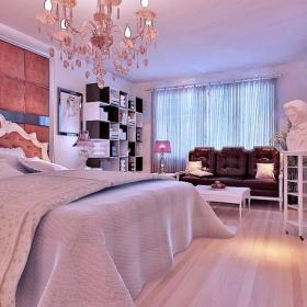 復式樓臥室臥室背景墻歐式風格復式主臥軟包裝修效果圖