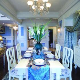 簡約歐式風格三居室餐廳裝修效果圖簡約歐式風格實木餐桌圖片