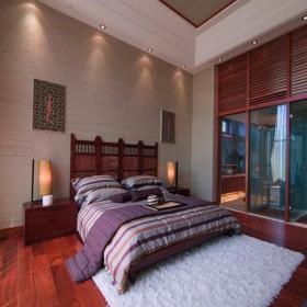 復式樓臥室背景墻中式臥室效果圖