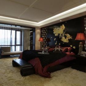 台灯灯具上用品新中式家具头灯床头背景墙复式楼床床上用品新中式风格卧室装修图片效果图欣赏