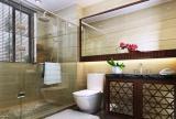 玻璃隔断大理石背景墙花洒面盆柜化妆镜淋浴房卫生间淋浴房现代简约风格洗手间隔断装修效果图现代简约风格座