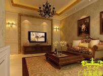 吊顶电视背景墙欧式别墅起居室效果图