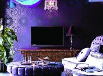 別墅紫色休閑娛樂間東南亞風格起居室裝修圖片效果圖