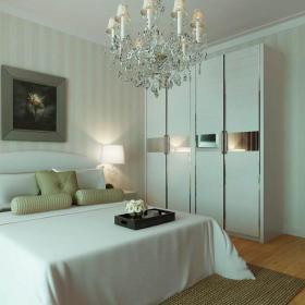雙人床裝飾畫壁紙衣柜衣柜家具現代衣柜三居臥室白色整體環境裝修效果圖