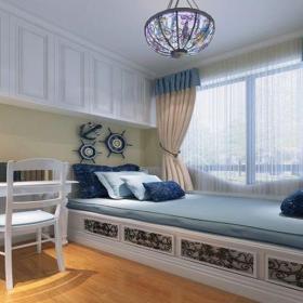 地中海風格三居室臥室榻榻米裝修圖片效果圖