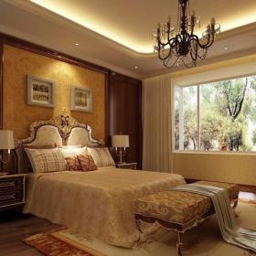 吊頂背景墻吊頂臥室背景墻歐式風格臥室裝修效果圖