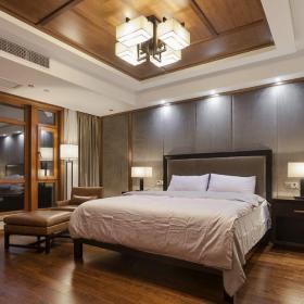 中式风格别墅卧室壁纸装修图片效果图