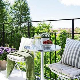露台茶几现代风格露天阳台花园装修图片现代风格椅凳图片装修效果图