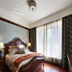 中式风格二居室卧室窗帘装修效果图欣赏