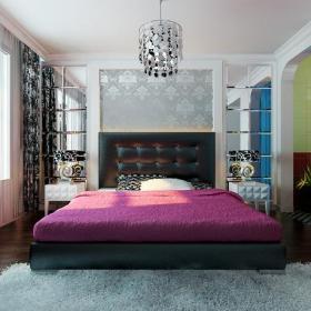 現代臥室背景墻臥室效果圖