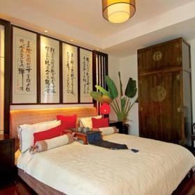 240㎡跃层中式风格卧室床头背景墙装修图片中式风格床图片装修效果图