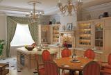 整體櫥柜吊燈餐臺餐廳家具餐桌餐椅櫥柜歐式田園開放式大型廚房家具圖片效果圖大全