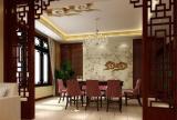 水晶吊灯餐台家具餐桌餐椅400㎡5室3厅1厨2卫简约中式风格餐厅垭口装修效果图简约中式风格椅凳图片