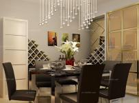 黑色背景墻現代餐廳餐廳背景墻璀璨的水晶吊燈照耀純黑色大理石餐臺效果圖欣賞