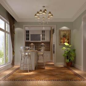 吊灯椅餐台过道简欧交换空间开放式空间家庭吧台装修效果图