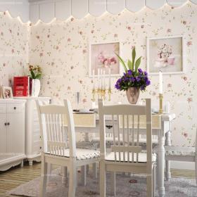白色餐厅背景墙唯美韩式田园风情餐厅设计效果图大全