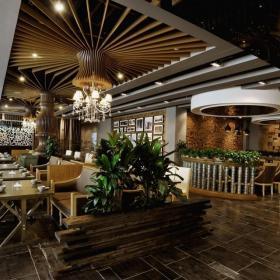 餐飲店餐廳餐廳吊頂餐廳背景墻餐臺大氣簡歐風格餐館設計圖效果圖欣賞