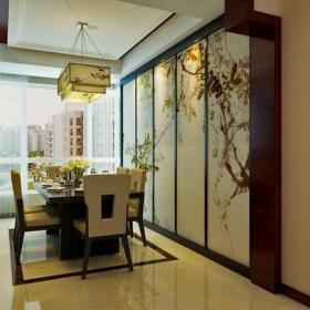 吊灯灯具餐台新中式家具140㎡三居新中式风格餐厅吊顶装修效果图新中式风格餐桌餐椅图片