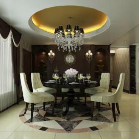 壁燈圓形吊頂餐椅餐臺餐廳家具218㎡四居室簡約歐式風格餐廳吊頂裝修效果圖簡約歐式風格吊燈圖片