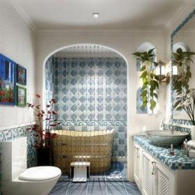 地中海風格二居室衛生間燈具裝修效果圖欣賞